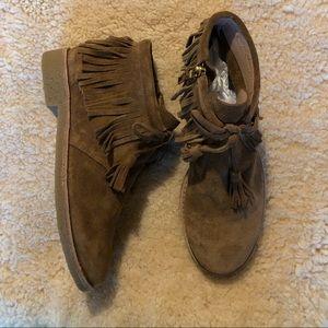 "kate spade ""bitsy"" fringe suede boots Size 5.5"